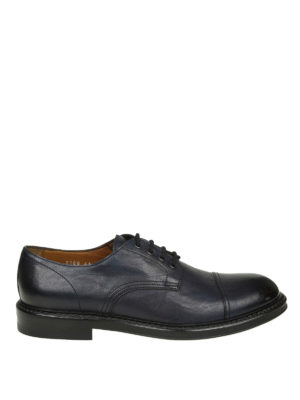 Doucal's: scarpe stringate - Derby stringate in pelle blu con punta lucida