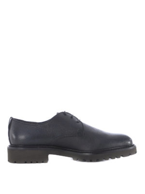 Doucal's: lace-ups shoes - Lug sole grainy leather derby shoes