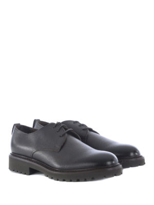 Doucal's: lace-ups shoes online - Grainy leather lug sole derby shoes