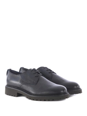Doucal's: lace-ups shoes online - Lug sole grainy leather derby shoes