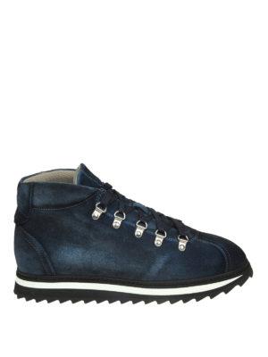 Doucal's: scarpe stringate - Stringate in suede blu con suola dentellata