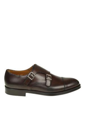 Doucal's: Mocassini e slippers - Monk strap in pelle marrone con cap toe