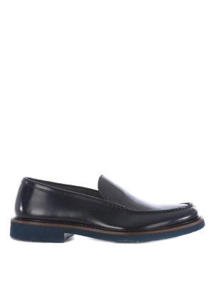 Doucal's: Mocassini e slippers - Mocassini in pelle spazzolata blu