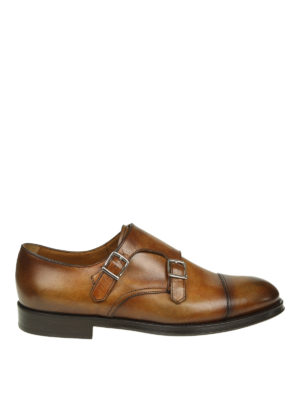 Doucal's: Mocassini e slippers - Monk strap in pelle cuoio sfumata con cap toe