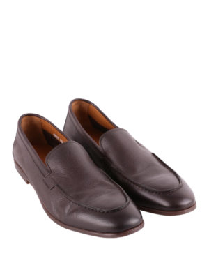 Doucal's: Loafers & Slippers online - Brown grained leather loafers