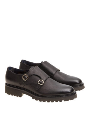 Doucal's: Loafers & Slippers online - Textured leather black monk straps