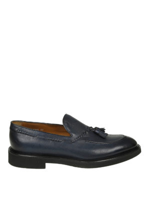 Doucal's: Mocassini e slippers - Mocassini in pelle blu degradé con nappine