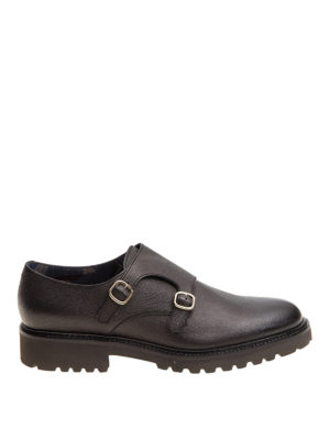 Doucal's: Loafers & Slippers - Textured leather black monk straps