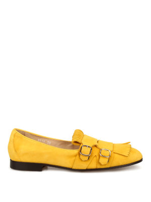 Doucal's: Loafers & Slippers - Yellow Roger suede monk strap shoes