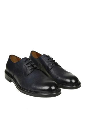 Doucal's: scarpe stringate online - Derby stringate in pelle blu con punta lucida