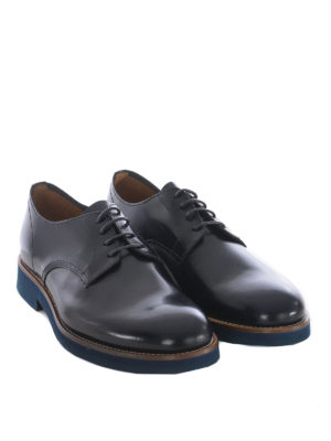 Doucal's: scarpe stringate online - Derby blu scuro in pelle spazzolata