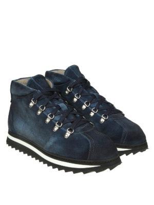 Doucal's: scarpe stringate online - Stringate in suede blu con suola dentellata