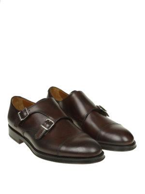 Doucal's: Mocassini e slippers online - Monk strap in pelle marrone con cap toe