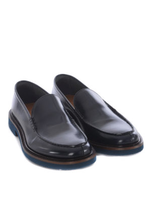 Doucal's: Mocassini e slippers online - Mocassini in pelle spazzolata blu