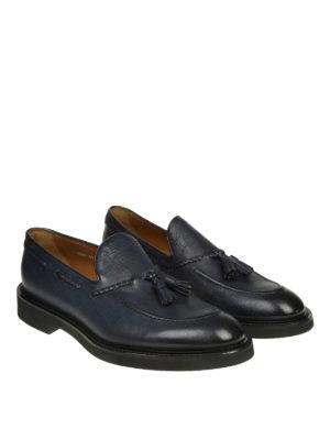 Doucal's: Mocassini e slippers online - Mocassini in pelle blu degradé con nappine