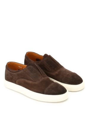 Doucal's: trainers online - Bokeh brown suede slip-ons
