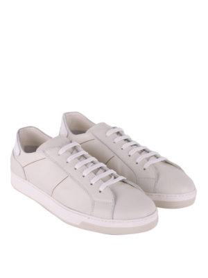 Doucal's: trainers online - Ivory grained leather sneakers