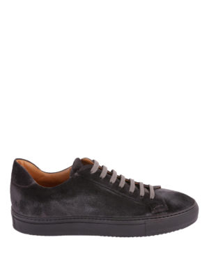 Doucal's: sneakers - Sneaker in morbido suede color antracite