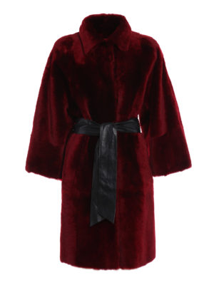 Drome: Fur & Shearling Coats - Belted reversible shearling coat
