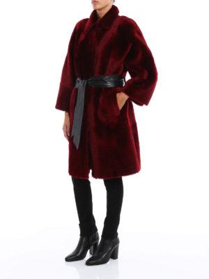 Drome: Fur & Shearling Coats online - Belted reversible shearling coat