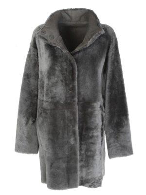 Drome: Fur & Shearling Coats - Reversible single-breasted coat in grey