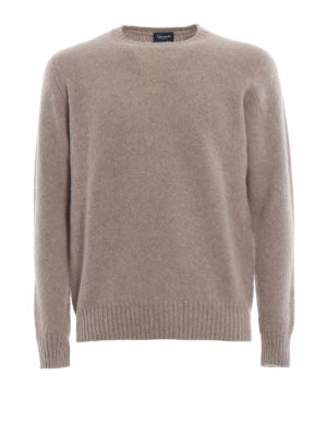 DRUMOHR: maglia collo rotondo - Girocollo beige in lambswool garzato