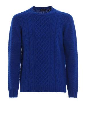 DRUMOHR: maglia collo rotondo - Maglione in lana a trecce blu elettrico