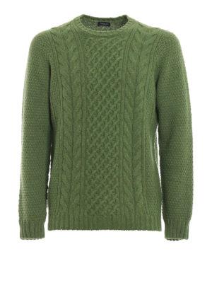 DRUMOHR: maglia collo rotondo - Maglione in lana a trecce verde