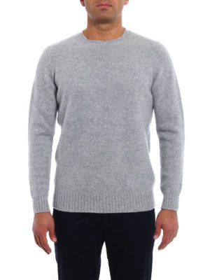 Drumohr: crew necks online - Grey lambswool crew neck sweater