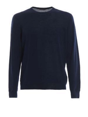 DRUMOHR: maglia collo rotondo - Girocollo blu in lana merino superfine