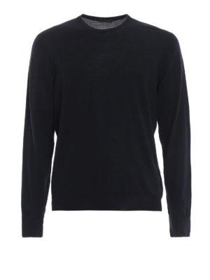 DRUMOHR: maglia collo rotondo - Girocollo blu scuro in lana merino superfine