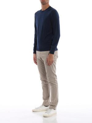 DRUMOHR: maglia collo rotondo online - Girocollo blu in lana merino superfine
