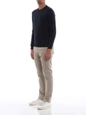 DRUMOHR: maglia collo rotondo online - Girocollo blu scuro in lana merino superfine
