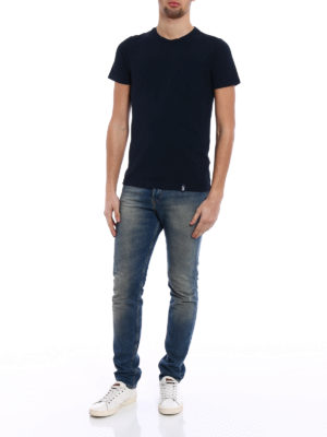 Drumohr: t-shirts online - Chest pocket blue T-shirt