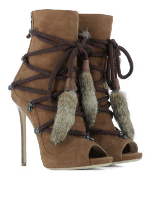 Dsquared2: ankle boots online - Open toe suede ankle boots