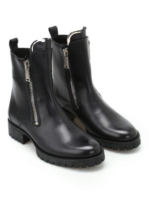 Dsquared2: ankle boots online - Zip up black leather boots
