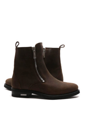 Dsquared2: ankle boots online - Zipped split leather booties