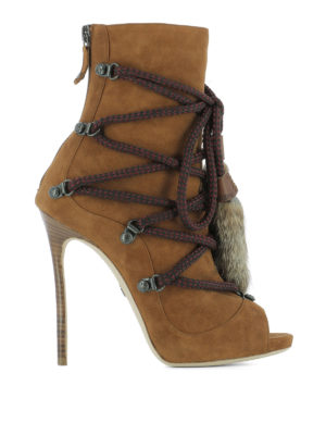 Dsquared2: ankle boots - Open toe suede ankle boots