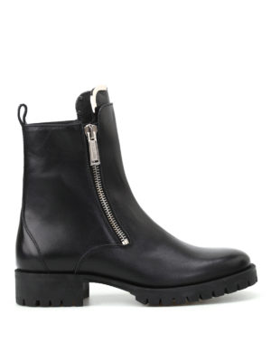 Dsquared2: ankle boots - Zip up black leather boots