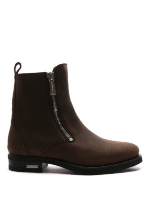 Dsquared2: ankle boots - Zipped split leather booties