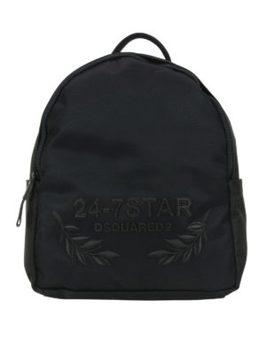 Dsquared2: backpacks - 24-7 embroidered nylon backpack