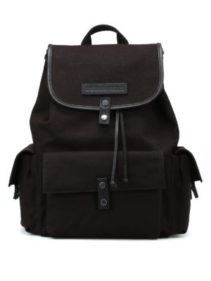 DSQUARED2: zaini - Zaino Bad Scout in cotone nero