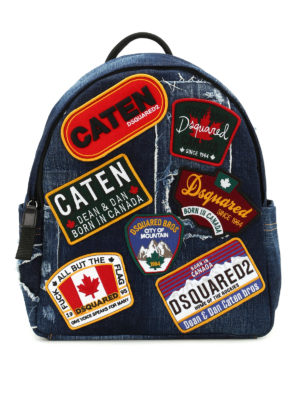 Dsquared2: backpacks - Badge detailed denim rucksack