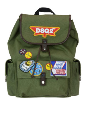 Dsquared2: backpacks - DSQ2 army style cotton backpack