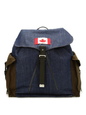 Dsquared2: backpacks - Military denim mix packpack
