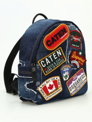 Dsquared2: backpacks online - Badge detailed denim rucksack