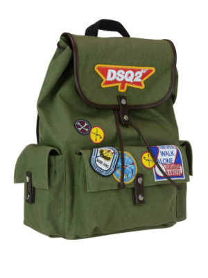 Dsquared2: backpacks online - DSQ2 army style cotton backpack