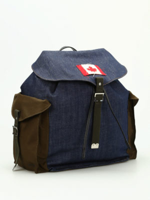 Dsquared2: backpacks online - Military denim mix packpack