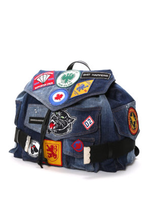 Dsquared2: backpacks online - Used effect denim backpack