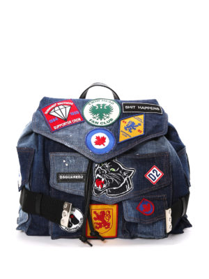 Dsquared2: backpacks - Used effect denim backpack